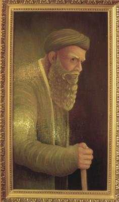 Vladimir Pavlovich Parkin. Portrait of an old Tajik with a stick
