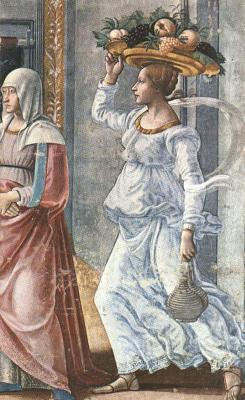 Domenico Girlandajo. The Nativity of John the Baptist (detail)