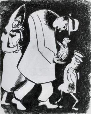 A man with a cat and woman with child