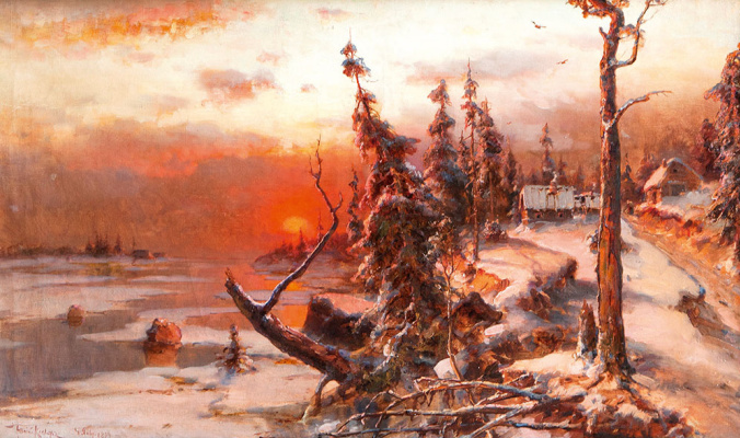 Julius Klever. Winter. Sunset