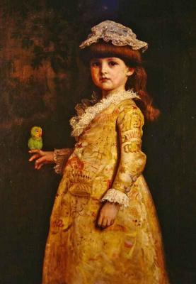 Джон Эверетт Милле. Девочка с попугаем. Портрет Маргарет Милле