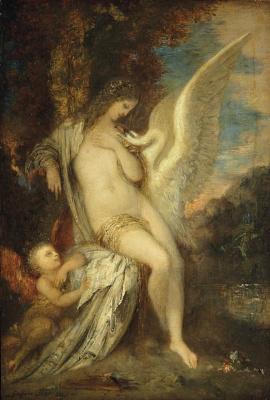 Gustave Moreau. Leda, Swan and Cupid