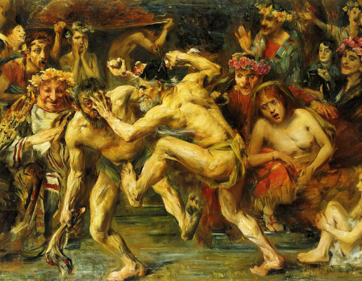 Lovis Corinto. The fight of Odysseus with the beggar