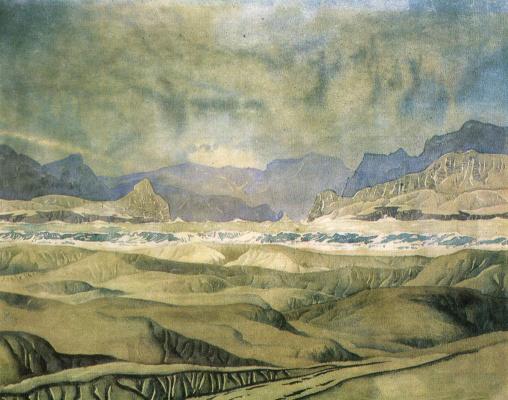 Максимилиан Александрович Волошин. Холмы, иссушенные зноем. 1929    25 x 35  см.