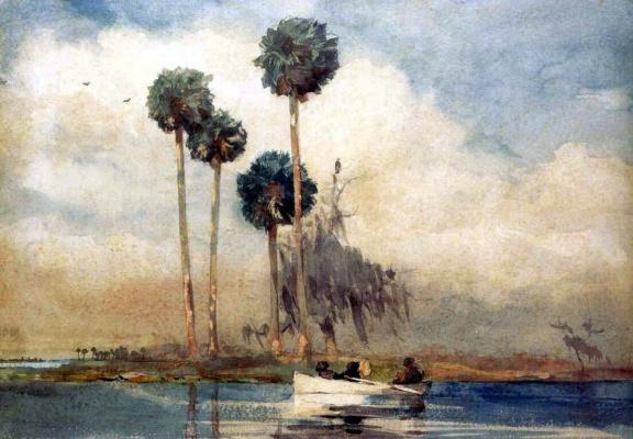 Winslow Homer. White boat, river St. John