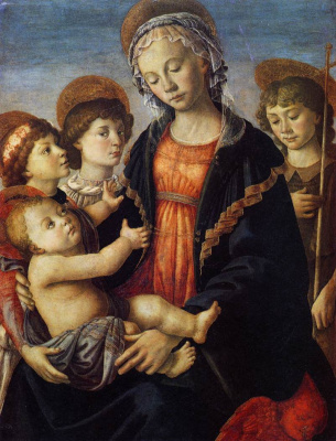 Sandro Botticelli. Madonna and child with two angels and the young St John the Baptist