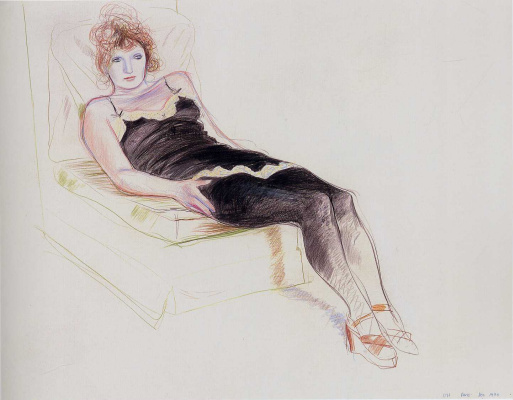 David Hockney. Celia in a black camisole