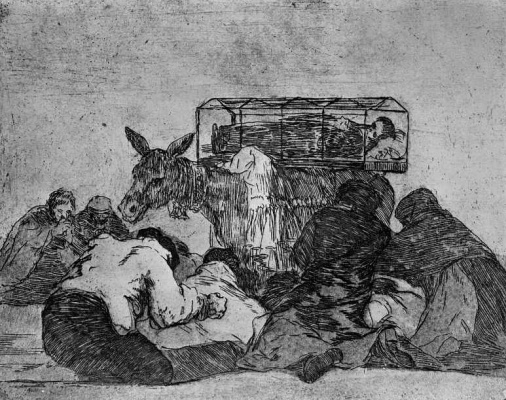 "Francisco Goya. The series ""disasters of war"", page 66: Strange piety!"