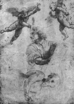 Raphael Santi. Daniel and the angel. Sketch for the mosaics of the Capella Chigi