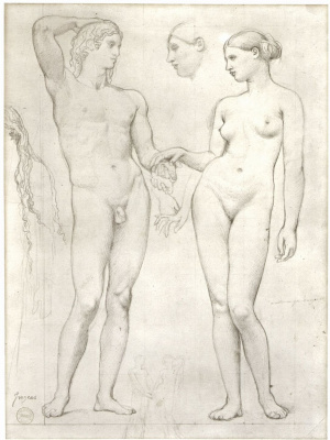 "Jean Auguste Dominique Ingres. A sketch for the painting ""the Golden Age"""