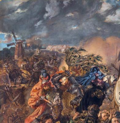 Jan Matejko. Battle of Grunwald. Fragment. Fires
