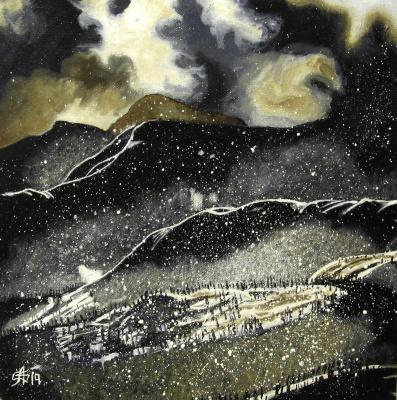 Artashes Vladimirovich Badalyan. Mountains on a winter night - x-hardboard - 30x30