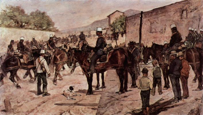 Giovanni Fattori. Artillery corps on a country road