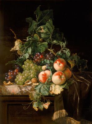Виллем ван Алст. Натюрморт с виноградом, персиками и грецкими орехами