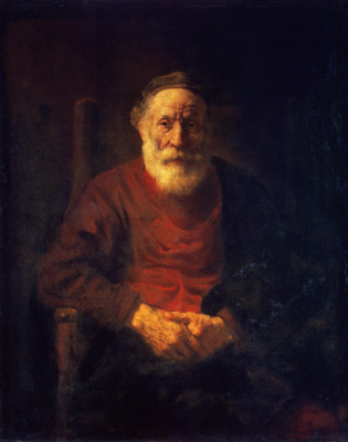 Rembrandt Harmenszoon van Rijn. Portrait of an old man in red