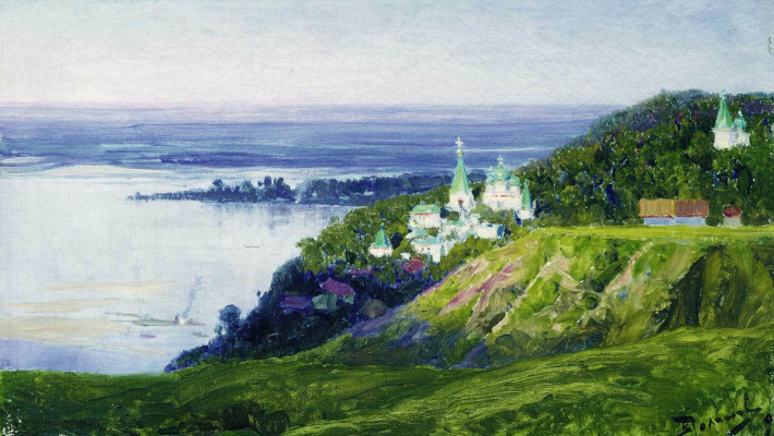 Vasily Dmitrievich Polenov. The monastery is above the river