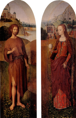 "Hans Memling. Saint John the Baptist and St. Mary Magdalene. The left and right part of the triptych ""rest on the flight into Egypt"""