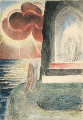 """William Blake. Dante and Virgil approaching the angel who guards the entrance to Purgatory. Illustrations for """"the divine Comedy"""""""