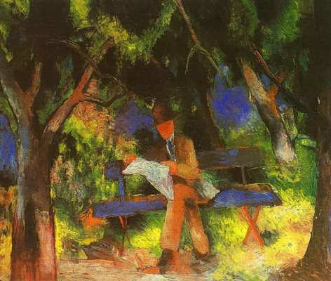August Macke. The man with the newspaper