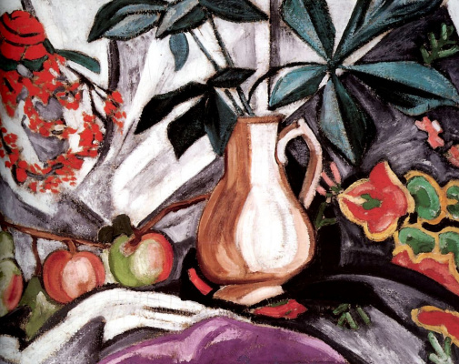 Olga Vladimirovna Rozanova. Still-life with a jug and apples
