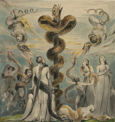 William Blake. Illustrations of the Bible. Moses erects a brass Serpent