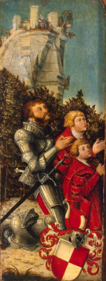 Lucas Cranach the Elder. Portrait of a knight with his two sons