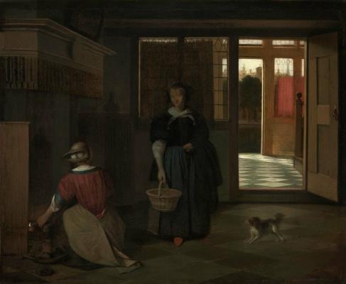 Pieter de Hooch. Interior of a Dutch home