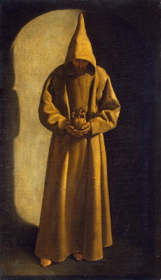 Francisco de Zurbaran. Saint Francis standing with a skull in his hands