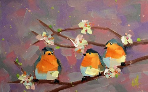 Angela Moulton. Three Robins in the spring