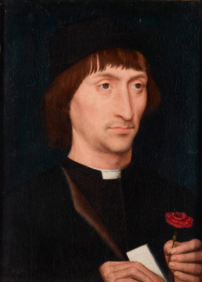 Hans Memling. Portrait of a man with a carnation