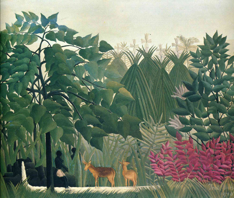 Henri Rousseau. At the waterfall