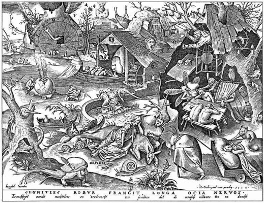 "Pieter Bruegel The Elder. The series ""Seven deadly sins"". Laziness"