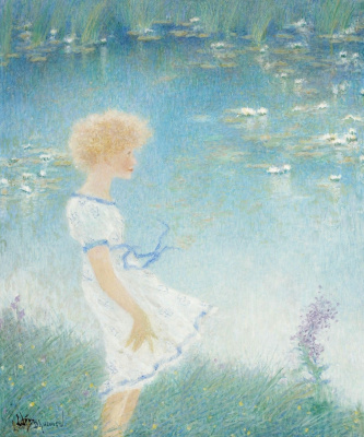 Lucien Levi-Durme. The girl at the pond.