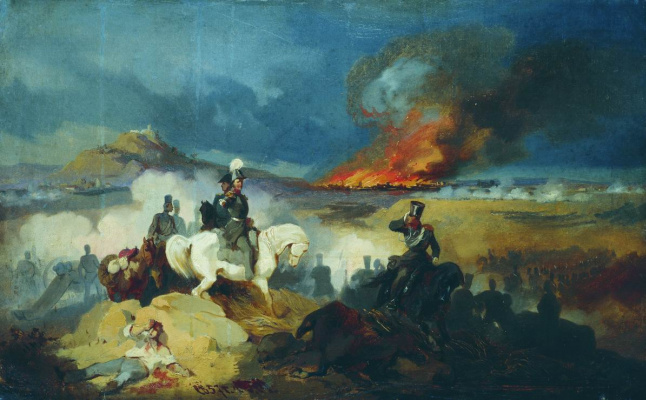 Bogdan Pavlovich Willewalde. Attack of the Life Hussar near Warsaw in 1831. 1872