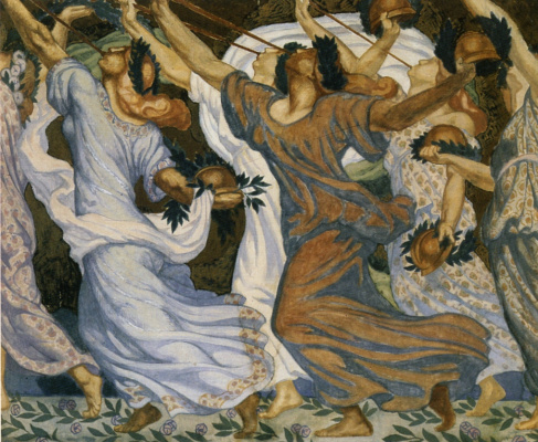 """Jean Delville. Pipes of victory. Sketch of the mosaic """"Victory"""""""
