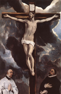 Domenico Theotokopoulos (El Greco). Christ on the cross adored by two donors