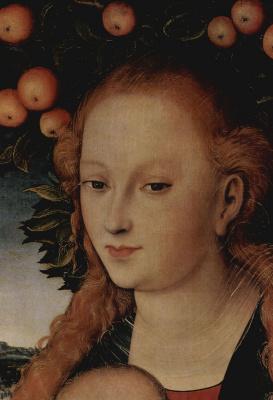 Лукас Кранах Старший. Мадонна с младенцем под яблоней (фрагмент)