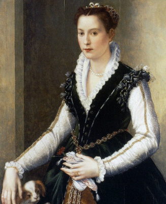 Alessandro Allori. Portrait of a noble lady with the dog