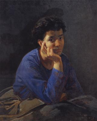 Nikolai Nikolaevich Ge. Portrait of an unknown woman in a blue blouse