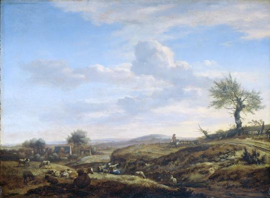 Adrian van de Velde. Hilly landscape with a highway