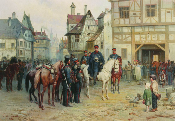 Bogdan Pavlovich Willewalde. Blucher and Cossacks in Bautzen. 1885