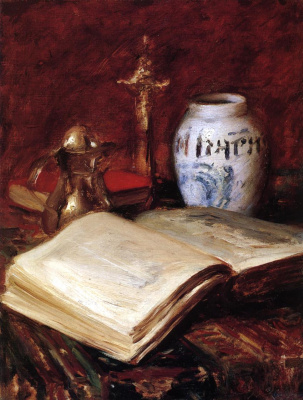 William Merritt Chase. Old book