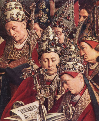 Jan van Eyck. The Ghent altarpiece. The worship of the lamb (detail)