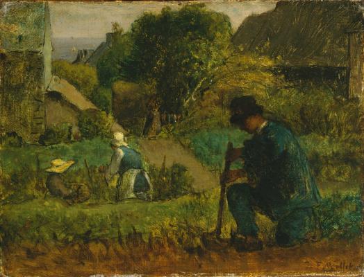 Jean-François Millet. Garden scene