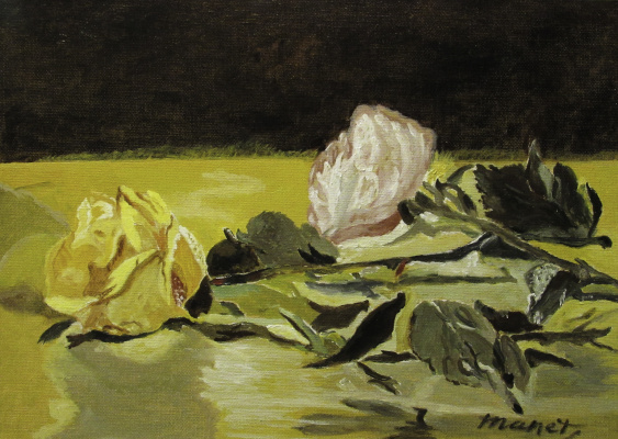 Artashes Badalyan. Mans. Two roses on the tablecloth - x-hardboard-m - 25x35