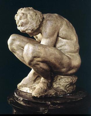 Michelangelo Buonarroti. Crouching boy