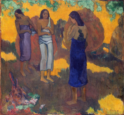 Paul Gauguin. Three of the Tahitian on a yellow background