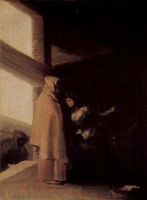 "Francisco Goya. Cycle of paintings ""the Horrors of war."" The visit of the monk"