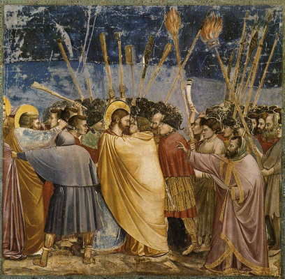 Giotto di Bondone. The taking of Christ in custody or Kiss of Judas