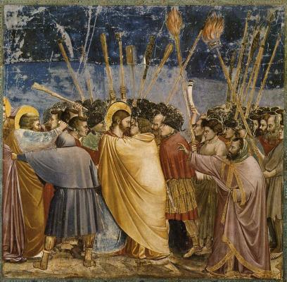 Джотто ди Бондоне. Взятие Христа под стражу, или Поцелуй Иуды